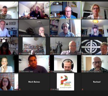 Webinar meeting of business people